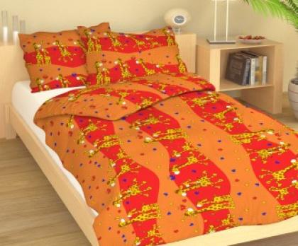 Dětské povlečení krep ŽIRAFY oranžové