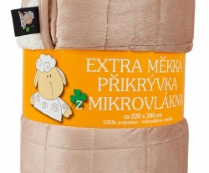 OVEČKA deka prošívaná 220x240 cm čokoládová