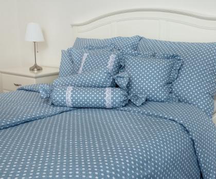 Bavlněné povlečení PUNTÍK modrý 140x200, 70x90 cm