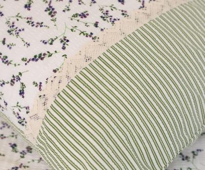 Krepové povlečení LEVANDULE se zeleným proužkem s krajkou