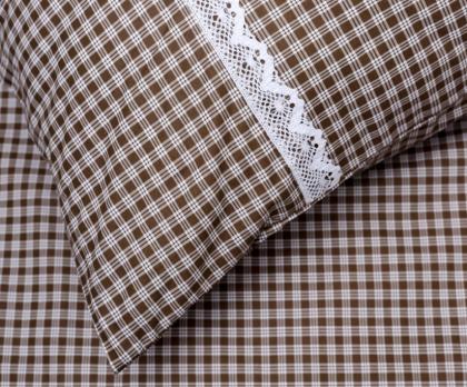 Bavlněné povlečení HNĚDÁ KOSTIČKA pozitiv s bílou krajkou