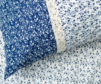 Krepové povlečení VĚTVIČKY modro-bílé s krajkou
