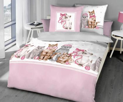 Flanelové povlečení KAEPPEL kočky růžové