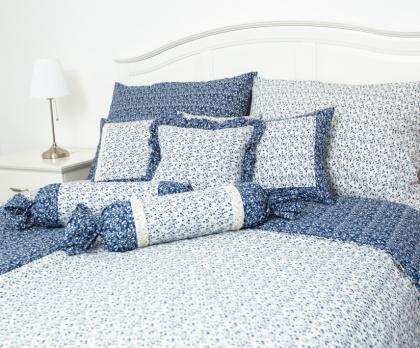 Přehoz, letní deka VĚTVIČKY modro-bílé