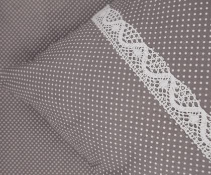 Bavlněné povlečení ŠEDÝ mini puntík s krajkou