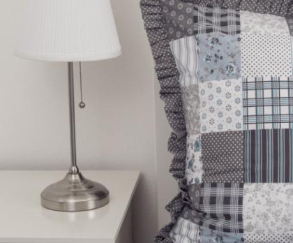 Bavlněné povlečení ŠEDOMODRÝ patchwork / puntík s kanýrem