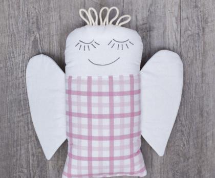 Plněný polštářek ANDĚL růžová kostka