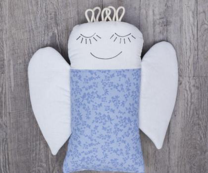 Plněný polštářek ANDĚL modrá lata