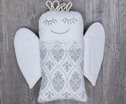 Plněný polštářek ANDĚL ornament negativ KRAJKA