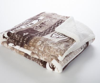 Beránek deka z mikrovlákna HNĚDÝ PATCHWORK + povláček ZDARMA