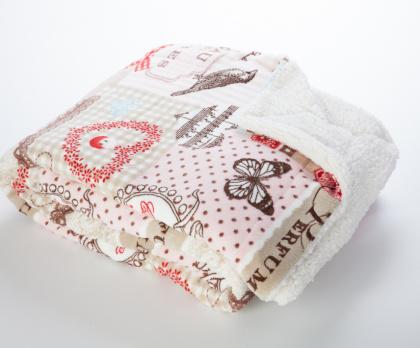 Beránek deka z mikrovlákna RŮŽOVÝ PATCHWORK