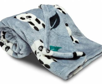 Dětská deka SLEEP WELL panda modrošedá 75x100 cm