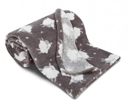 Dětská deka SLEEP WELL OVEČKY tmavě šedá