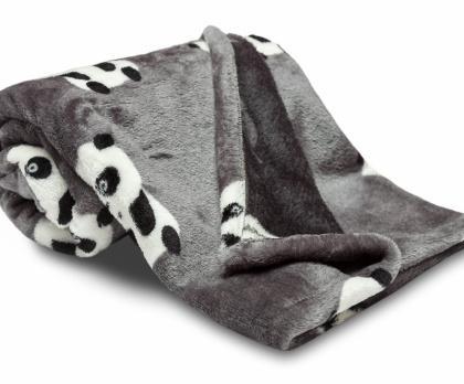 Dětská deka SLEEP WELL PANDA tmavě šedá
