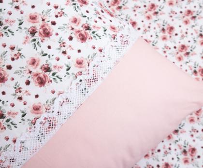 Bavlněné povlečení ROSE / UNI pink S KRAJKOU