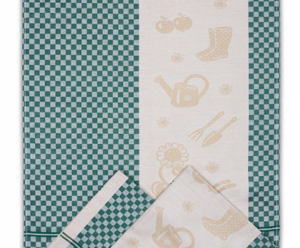 Utěrky z egyptské bavlny ZAHRADA KOSTKA (sada 3 ks) ZELENÁ