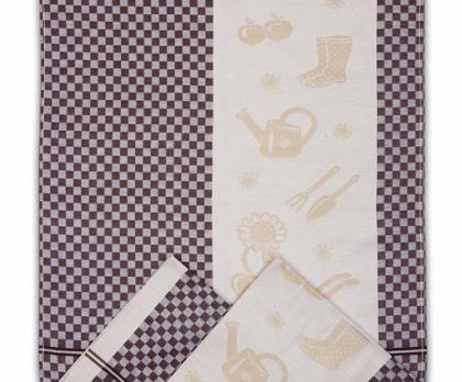 Utěrky z egyptské bavlny ZAHRADA KOSTKA (sada 3 ks) HNĚDÁ