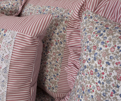 Bavlněné povlečení FLORES / růžový proužek