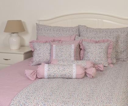Přehoz, letní deka FLORES / růžový proužek