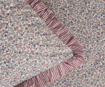 Bavlněné povlečení FLORES / růžový proužek S KANÝREM