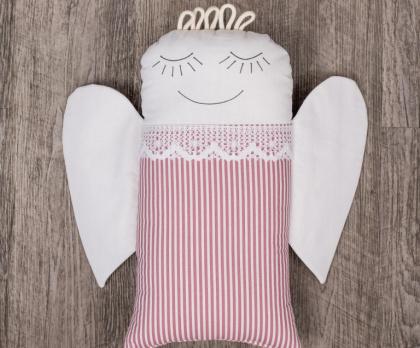 Plněný polštářek ANDĚL růžový proužek S KRAJKOU