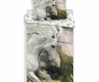 Bavlněné povlečení Unicorn bílý
